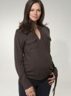 Brown Maternity Wrap Top
